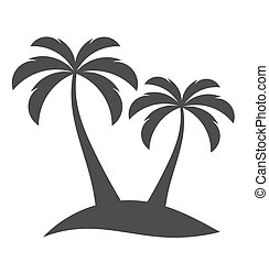 Palm trees on island - Palm trees sihouette on island Vector...
