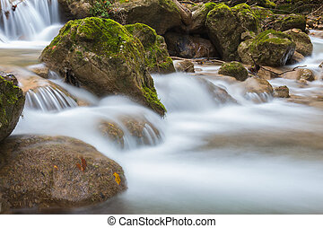 stream - Mountain stream among the mossy stones at Mixnitz...