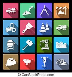 Construction Icons Set Flat - Construction and building...