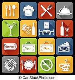 Restaurant Icons Set - Restaurant food kitchen flat icons...