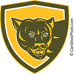 Puma Mountain Lion Head Prowl Shield Retro - Illustration of...