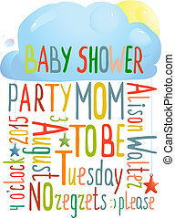 Baby Shower Invitation with Cloud - Brightly colored...