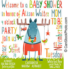 Baby Shower Invitation with Animal - Brightly colored...
