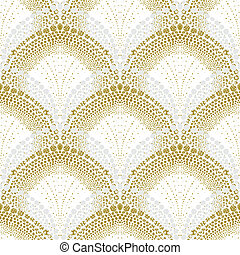 White geometric texture in art deco style with scaled...