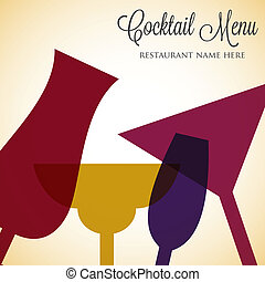 Retro overlay cocktail card in vector format.