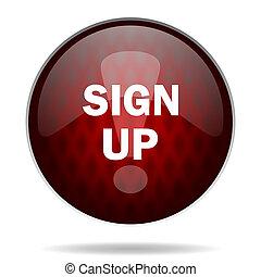 sign up red glossy web icon on white background