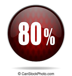 80 percent red glossy web icon on white background