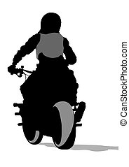 Bike back - Motorcyclist in sportswear on white background