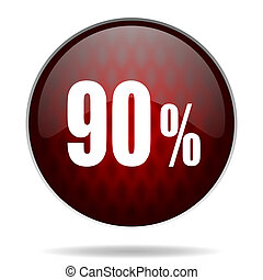 90 percent red glossy web icon on white background