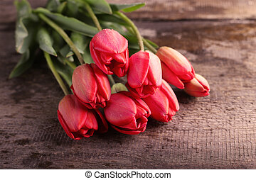 tulips lying on a table