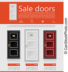 Flat vector minimalist template business design. Doors.