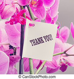 Bouquet of orchids with a Thank You note - Bouquet of fresh...