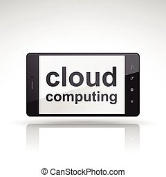 cloud computing words on mobile phone