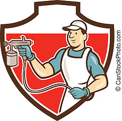 Painter Spray Gun Spraying Shield Cartoon - Illustration of...