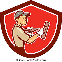 Plasterer Masonry Worker Shield Cartoon - Illustration of a...