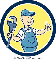 Plumber Monkey Wrench Thumbs Up Cartoon