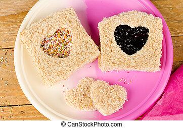 Romantic sandwich - Sweet sandwich with a heart shape cut...