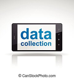 data collection words on mobile phone isolated on white