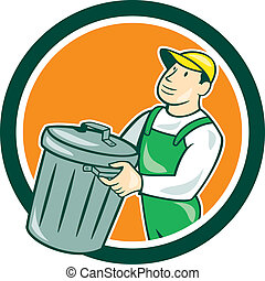 Garbage Collector Carrying Bin Circle Cartoon - Illustration...