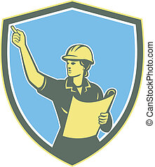 Female Construction Worker Engineer Shield Retro
