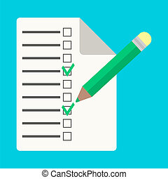 checklist with pencil in flat style. isolated on blue...