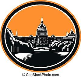 United States Capitol Building Woodcut Retro