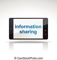 information sharing words on mobile phone isolated on white