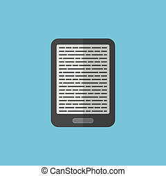 e-book reader icon in flat style. isolated on blue...