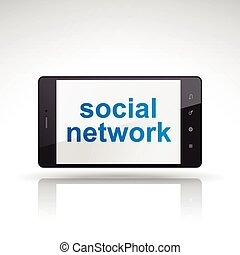 social network words on mobile phone