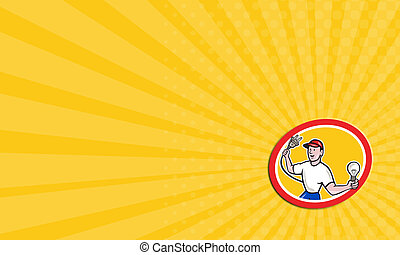 Business card Electrician Holding Electric Plug and Bulb Cartoon