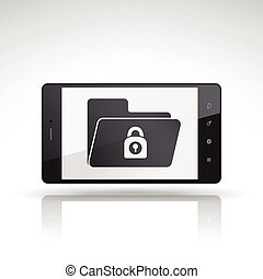 file security icon on mobile phone isolated on white