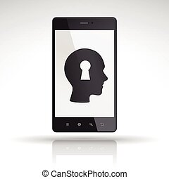 identity security icon on mobile phone