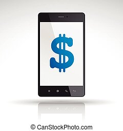 money icon on mobile phone isolated on white