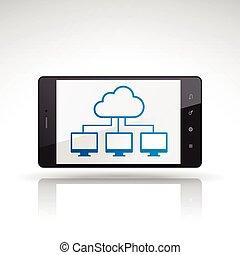 cloud computing icon on mobile phone