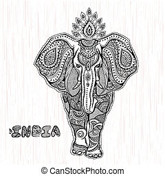 Vector vintage Indian elephant illustration for your...