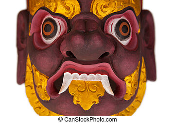 Bhairab wooden mask isolated over white background