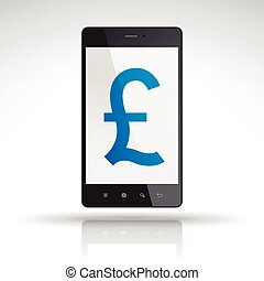 pound symbol on mobile phone isolated on white