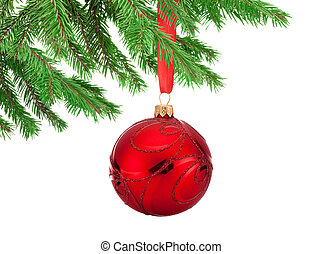 Red decorations Christmas ball hanging on a fir tree branch...