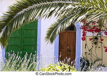 Ibiza Mediterranean island architecture houses in summer...