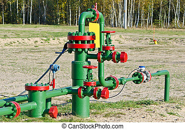 Oil pipe - Oil gas processing plant with pipe line valves
