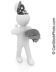 3d people - man with half head, brain and trumb up Concept...