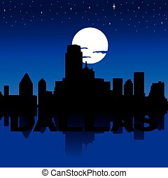 Dallas skyline night with moon - Dallas skyline reflected...