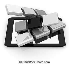 Tablet PC with colorful CMYK application icons isolated on white