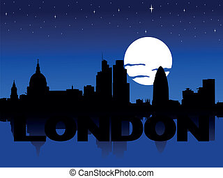 London skyline moon illustration - London skyline reflected...