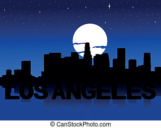 Los Angeles skyline moon