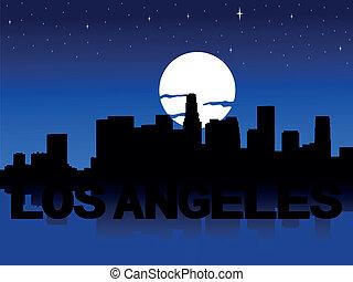 Los Angeles skyline moon - Los Angeles skyline reflected...