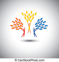 excited, motivated people as trees of life - eco concept vector