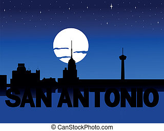 San Antonio skyline moon - San Antonio skyline reflected...
