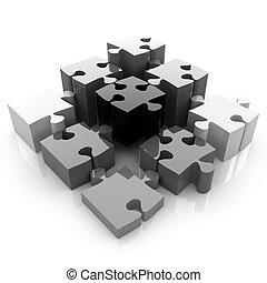 Puzzle of the four elements. Conceptual image - a palette CMYK