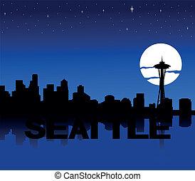 Seattle skyline moon illustration